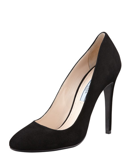 Prada Leather Rounded-Toe Pumps cheap cost ks54Arh5f1