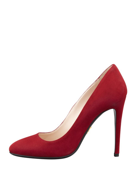 Round-Toe Suede Pump, Ruby