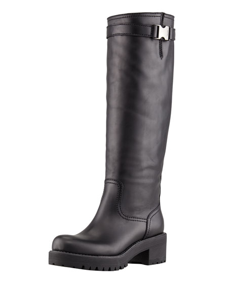 Leather Thick Sole Knee Boot
