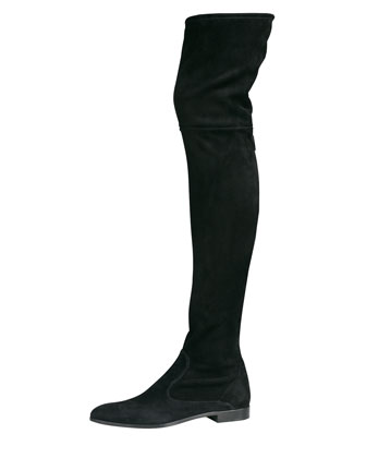 Suede Flat Thigh-High Boot, Black