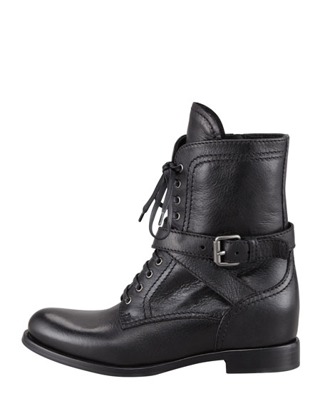 a5821bb6 Lace-Up Leather Combat Boot Black