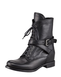Prada Lace-Up Leather Combat Boot, Black