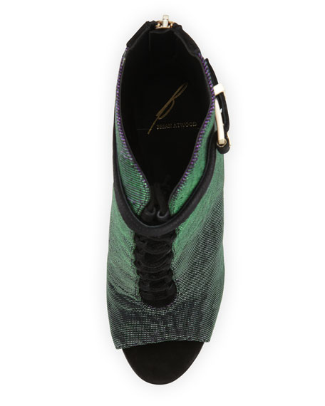 Lindford Peep-Toe Bootie, Purple/Green