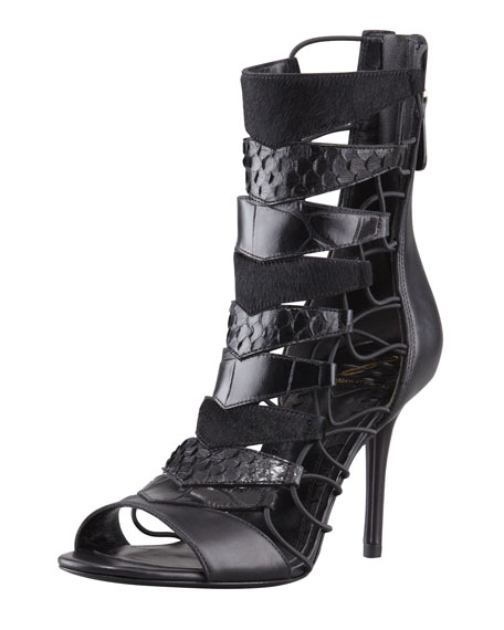 Elody Mixed-Media Gladiator Sandal
