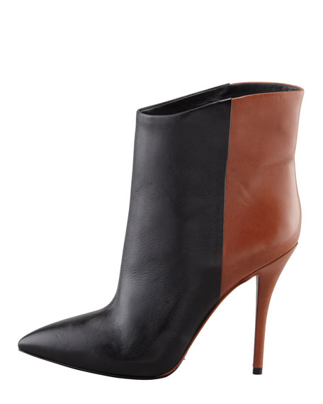 Djuna Two-Tone Leather Bootie, Black/Walnut