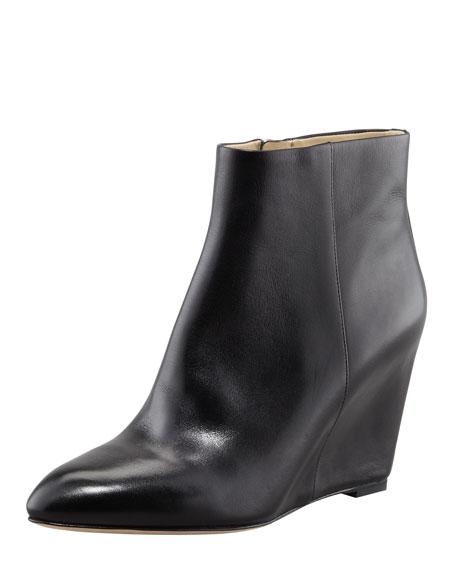 Bellaria Leather Wedge Bootie, Black