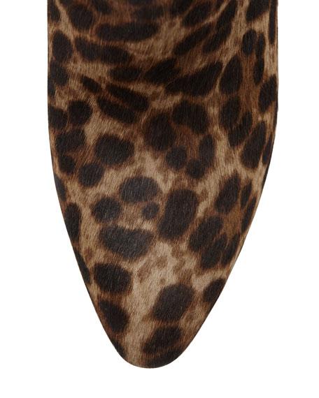 Bellaria Calf Hair Wedge Bootie, Taupe Leopard