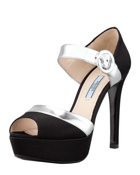 Satin Ankle Strap d'Orsay Sandal, Black