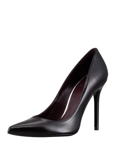 Stuart Weitzman Nouveau Leather Point-Toe Pump, Black