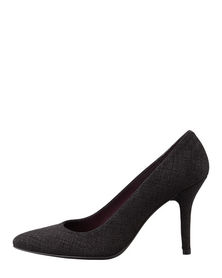 Power Saffiano-Coated Pointed Pump, Black