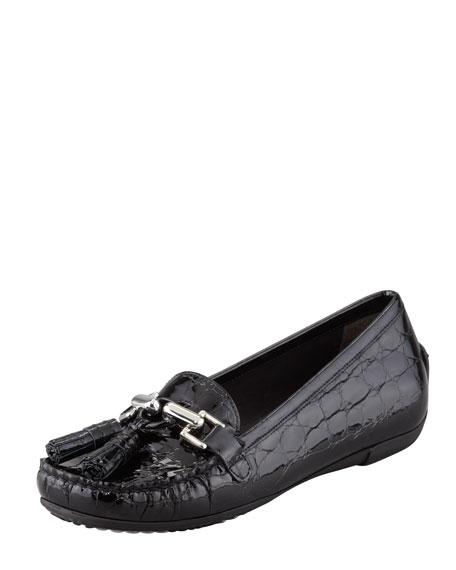 Rascal Patent Crocodile-Embossed Tassel Loafer, Black