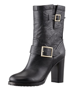 Jimmy Choo Dart Biker Buckle Bootie, Black