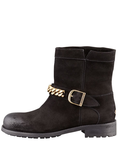 Daze Distressed Suede Mountain Combat Boot, Black