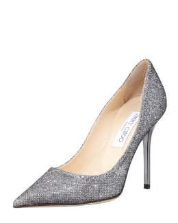 Jimmy Choo Abel Glitter Pointed Pump, Anthracite