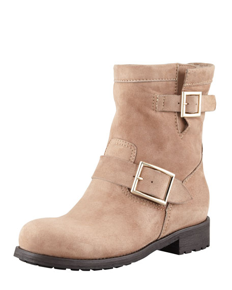 Youth Suede Biker Boot, Taupe