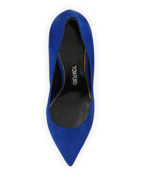 Suede Pointed-Toe Signature Pump, Cobalt
