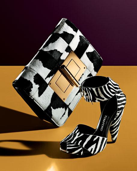 Zebra-Print Pin-Detail Ankle-Strap Sandal