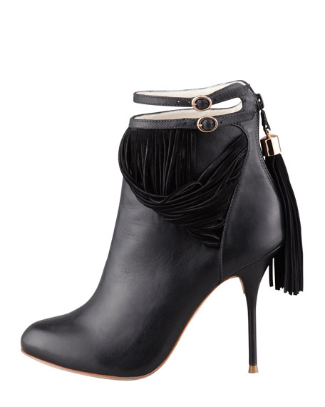 Kendall Leather Fringe Bootie