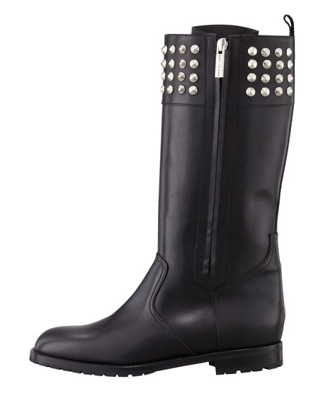 Ermebor Studded Leather Mid-Calf Boot, Black