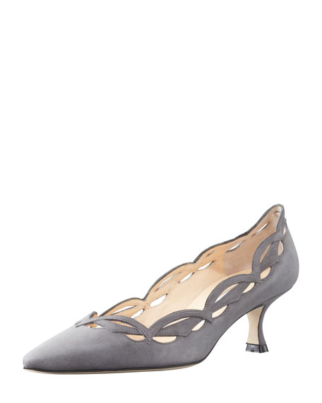 Appaio Pointy Scallop Pump, Gray