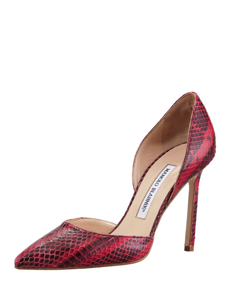 Tayler Snakeskin d'Orsay Pump, Red/Black