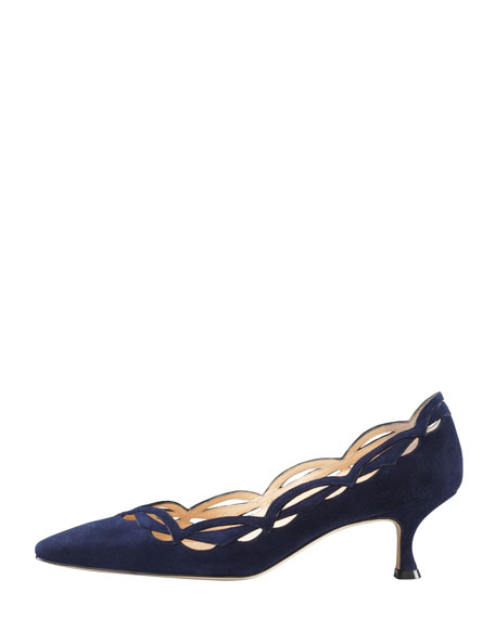 Appaio Pointy Scallop Pump, Navy