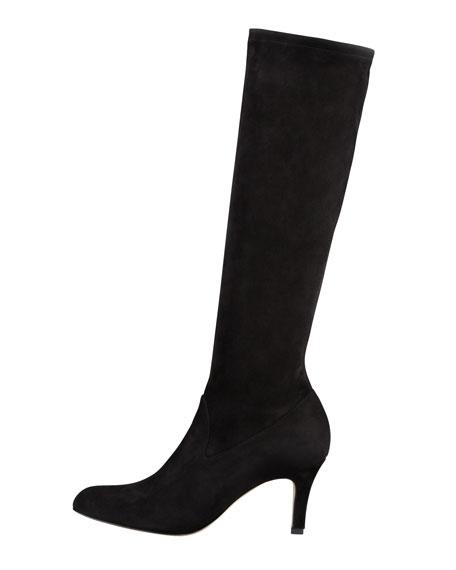 Pascaputre Suede Knee-High Boot, Black