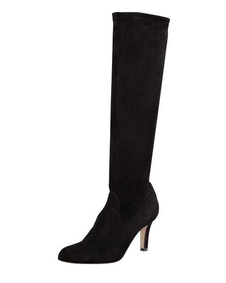 47b549d62b172 Manolo Blahnik Pascaputre Suede Knee-High Boot, Black