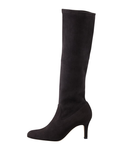 Pascaputre Suede Knee Boot, Charcoal Gray