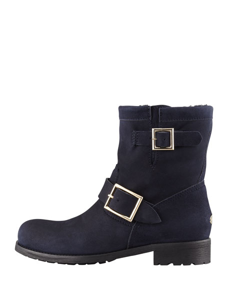 2b84f1cd59db Jimmy Choo Youth Suede and Shearling Biker Boot, Navy