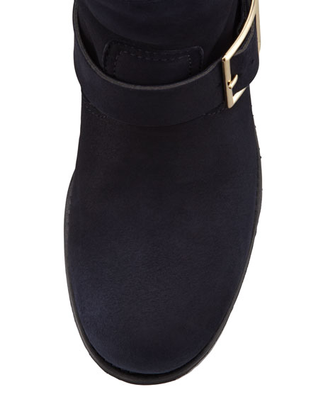 Youth Suede and Shearling Biker Boot, Navy