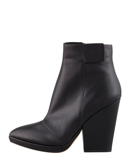 Luisa Leather Ankle Boot, Black
