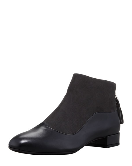 Suede-Leather Low-Heel Ankle Boot