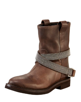 Brunello Cucinelli Low Western-Style Strapped Boot, Brown