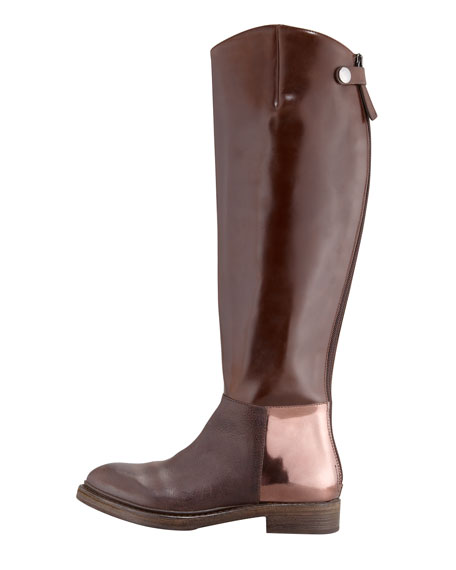 Flat Mixed-Leather Riding Boot