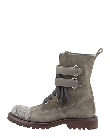 Suede Beaded-Toe Combat Boot