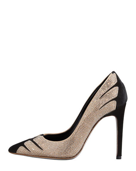 Velvet Strass Linear Pointed-Toe Pump, Black/Golden