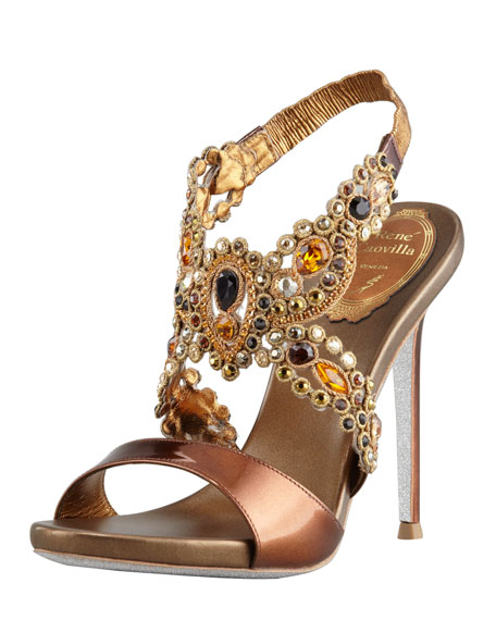 Jeweled Platform Halter Sandal, Bronze