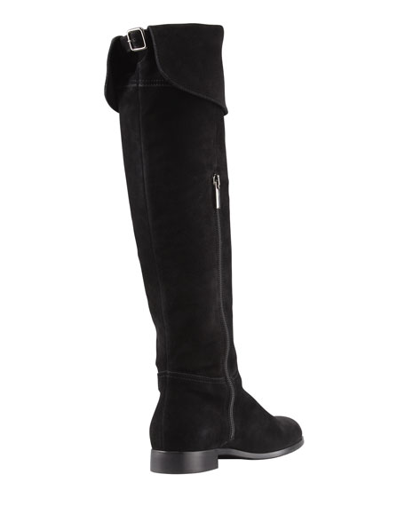 Drawn Suede Over-the-Knee Boot, Black