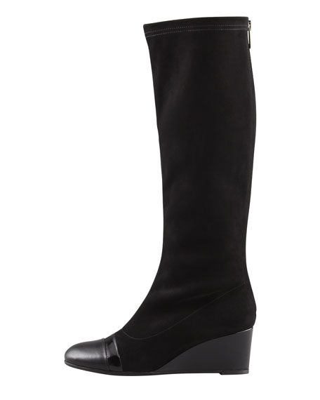 Juno Stretch Suede Wedge Knee Boot, Black