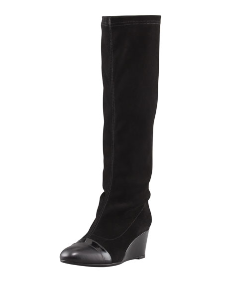 aquatalia by marvin k juno stretch suede wedge knee boot