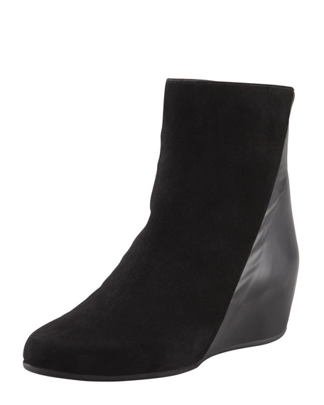 Ursa Suede/Leather Micro-Wedge Bootie, Black