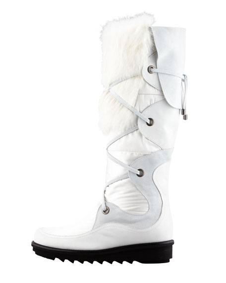 Katch Lace-Up Rabbit Fur-Trim Boot, White