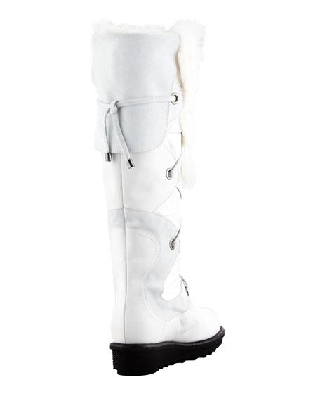 Katch Lace-Up Rabbit Fur-Trim Boot, White