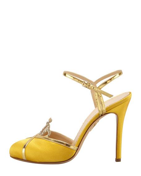 Tiara Satin Crystal Ankle-Strap Sandal