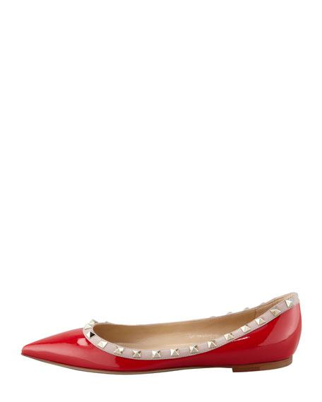 Rockstud Patent Ballerina Flat, Red/Tonal