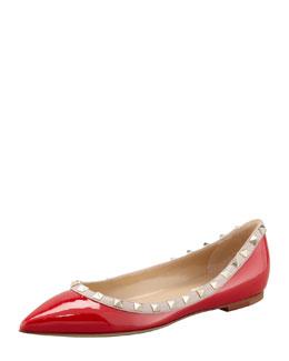 Valentino Rockstud Patent Ballerina Flat, Red/Tonal