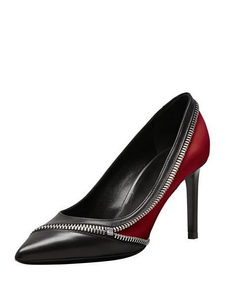 Optical Mid-Heel Zipper Pump, Black/Red