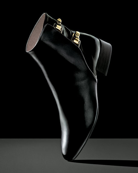 Double-Buckle Leather Ankle Boot, Black