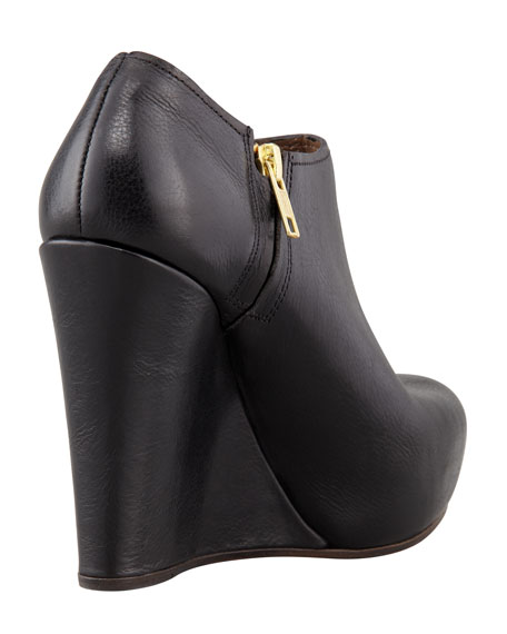 Polished Leather Wedge Bootie, Black